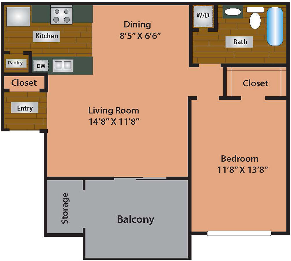 1 Bed 1 Bath 664 Square Feet