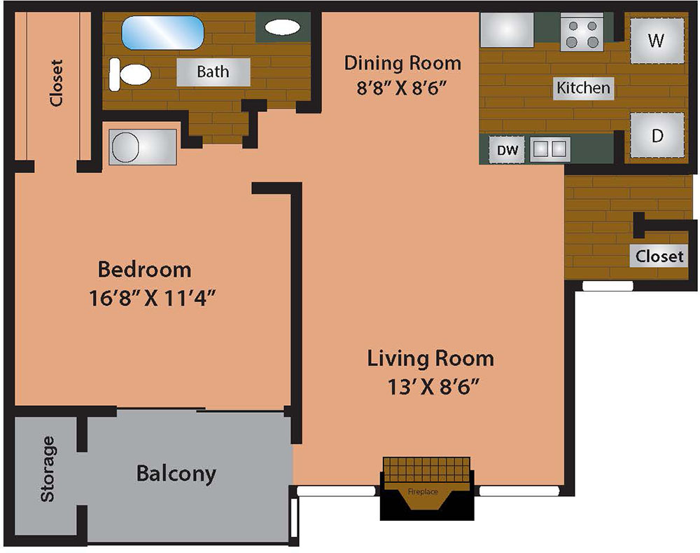 1 Bed 1 Bath 769 Square Feet