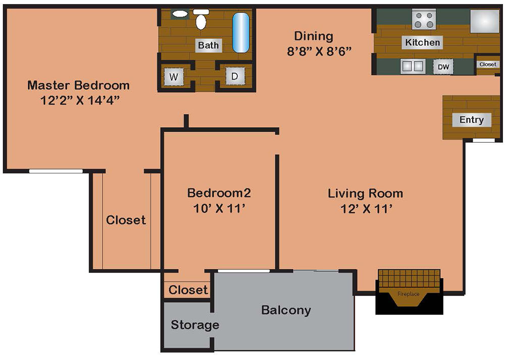 2 Bed 1 Bath 872 Square Feet
